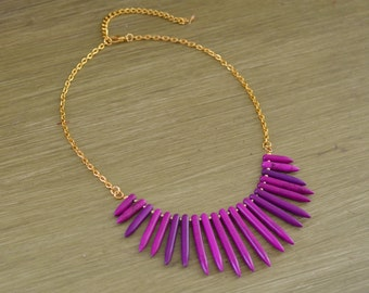CLOSEOUT Plum Purple Turquoise Spike Necklace - Purple Statement Necklace - Purple Beaded Necklace - Purple and Gold Silver - Plum Necklace