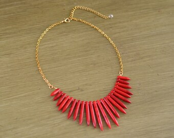 Red Turquoise Spike Necklace - Red Statement Necklace - Red Beaded Necklace - Red Gold Silver Necklace