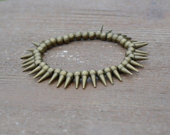 Antique Gold Spike Bracelet - Bronze Bracelet Jewelry - Gold Spike Jewelry - Beaded Stretch Bracelet - Arm Candy Bracelet - Layered Bracelet