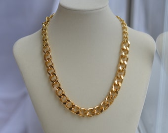 CLOSEOUT Chunky Gold Chain Necklace - Gold Chain Link Necklace - Large Big Chain Necklace - Edgy Necklace - Simple Short Chain Necklace