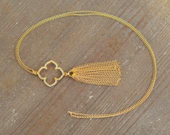 Long Gold Clover Necklace - Gold Tassel Necklace - Four Leaf Clover Necklace - Chain Tassel Necklace - Gold Fringe Necklace - Rhinestone