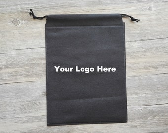 Personalized Non-Woven Fabric Bags Large Gift Bags Black Draw String Pouches