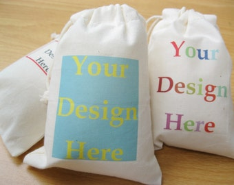 Custom Muslin Bag Fabric Gift Bags Drawstring Calico Bags Logo Printed Jewelry Packaging Wedding Favors Bags