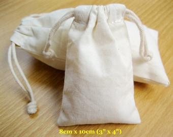 "100 pcs 3""x4"" Plain Muslin Bags Small Gift Bags Calico Pouches Cotton Cloth Bags"