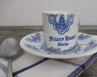 Espresso Cup and Saucer, Demitasse Cup, Vintage Restaurant Ware, Friary Hotel, Coffee Lovers Gift
