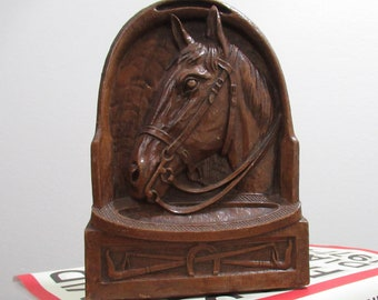 Horse Bookend, Vintage Bookends, Horse Decor, Library Decor, Equestrian, Horse Lovers Gift