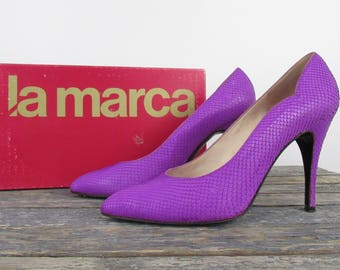 Glam Rock Snakeskin Stilettos, Size 39 1/2, Sexy Shoes, Offbeat Bride, Designer Vintage La Marca, Fuchsia Heels
