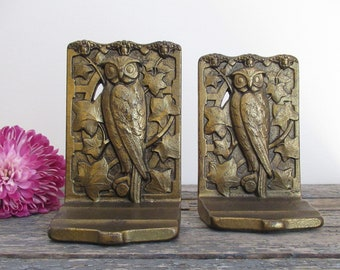 Owl Bookends, Judd Bookends, Cast Iron Bookends, Antique Bookends, H. L. Judd Company Bookends