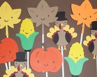 Set of 24 Thanksgiving Cupcake Toppers, Fall Decorations, Fall Cake Toppers, Turkey, Pumpkin, Harvest Decorations, Leaf Decorations, Fall