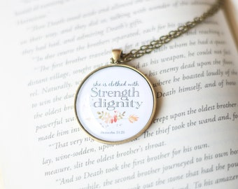 She is clothed with strength and dignity necklace - proverbs 31 necklace - proverbs 31 woman - bible verse necklace - gift for mom - prov 31