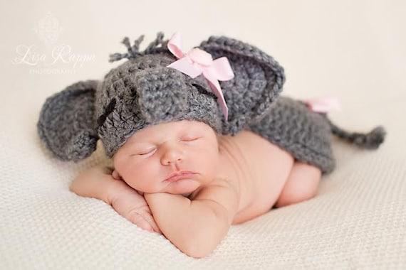 Items similar to Baby girl Gray elephant set crochet ...