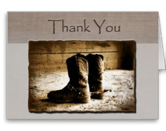 Thank You Note Card of Rustic Cowboy Boots in sepia-western stationery