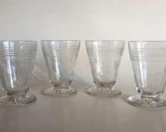 Four Vintage 50s Etched Dots Glass Set