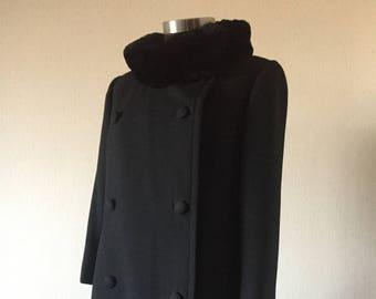 Vintage 60s Black Wool Coat