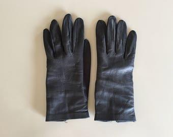 Vintage 40s French Black Leather Gloves