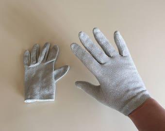 Vintage 50s Silver Sparkly Gloves