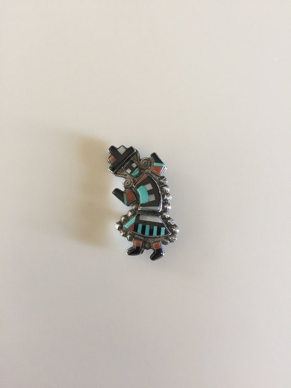 Vintage 40s ZUNI Sterling Rainbow Man Pin