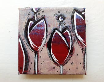 Red Tulips - Original Art - Hand Painted Magnet