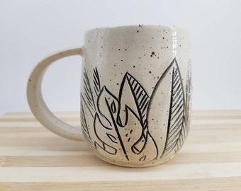 Tropical Leaf Carved Mug
