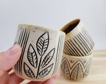 Weeny Carved Ceramic Sippers