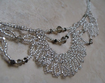 Silver lacy beaded sparkly necklace