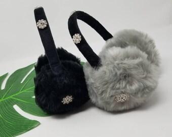 Embellished Faux Fur Earmuffs Rhinestone Ear Warmers Winter Headband Black EarMuff Gray Earwarmers Bling Headwear One Of A Kind Custom Made