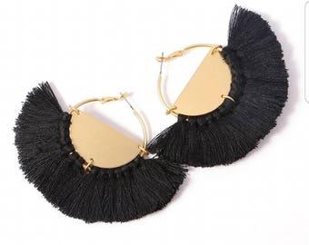 Black Flare Tassel Earrings