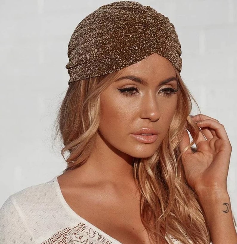 Gold Shimmer Turban Hat Gatsby Turban Womens Turban Hat Hair image 0