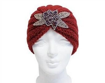 Red Beaded Knit Turban