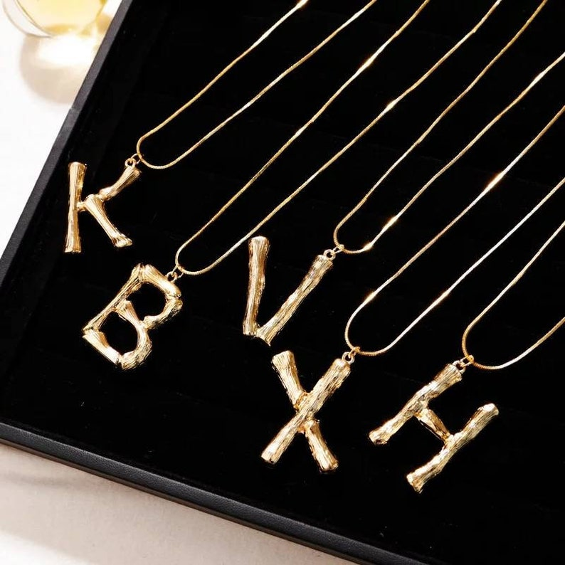 Bamboo Letter Initial Necklace Hip Hop Jewelry Statement image 0