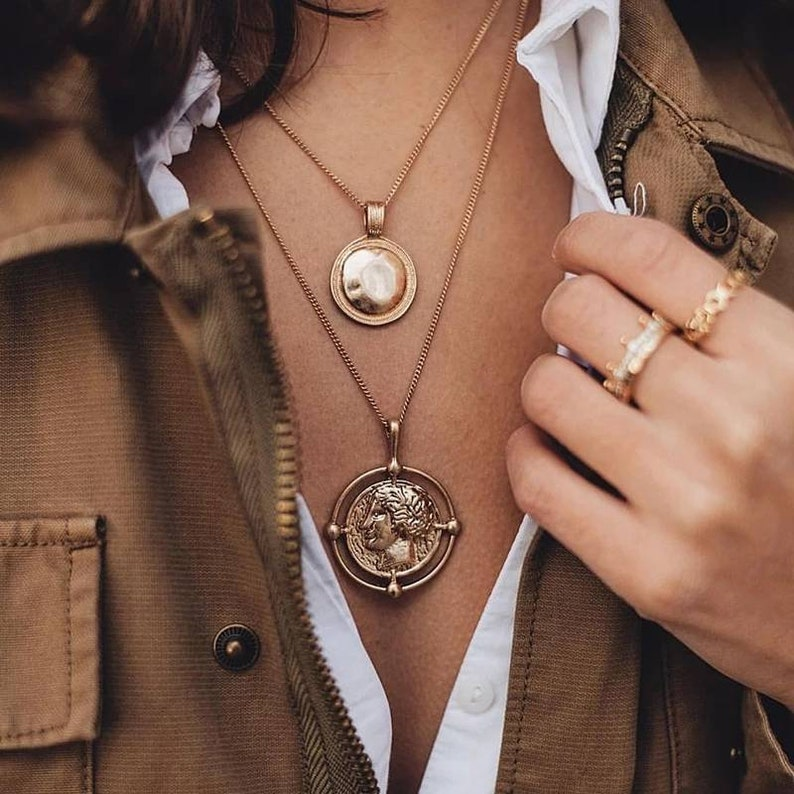 Layered Coin Medallion Necklace Statement Necklace image 0