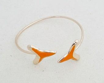 Orange Shark Tooth Bangle