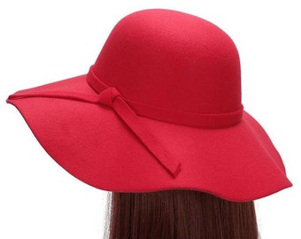 Red Floppy Hat Pink Wide Brim Hat Winter Hat Head Cover Hat Free Shipping