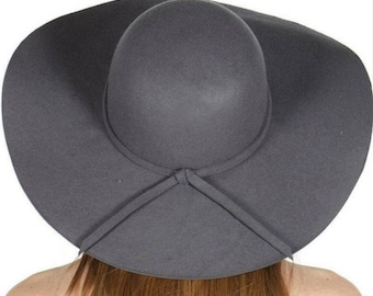 Gray Floppy Hat Wide Brim Hat Winter Hat Head Cover Hat Free Shipping