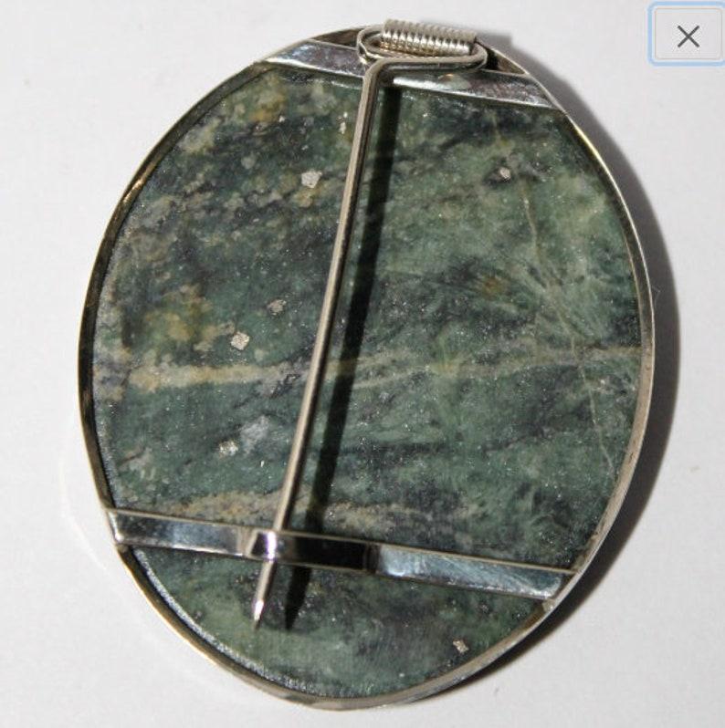 mosaic brooch Malachite cacholong pin