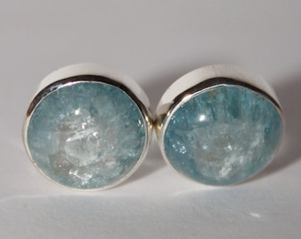 Aquamarine earrings, genuine aquamarine  beaded earrings