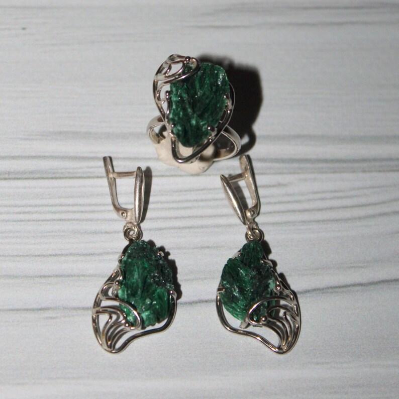 Chatoyant malachite  jewelry set
