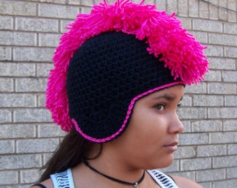 Crochet two-color mohawk hat with earflaps.