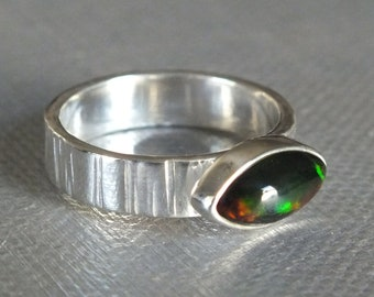 Black Ethiopian Welo Opal Sterling Silver Hammered Handmade Ring Size 7 1/2 Metalsmith James Blanchard Free Sizing