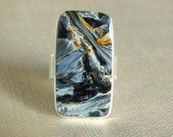 Insane Pietersite Sterling Silver Ring Handmade Metalsmith James Blanchard Size 8 wide Free Sizing