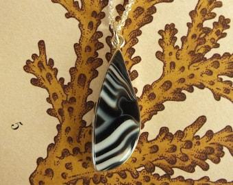Tuxedo Agate Sterling Silver Pendant Necklace Handmade Metalsmith James Blanchard