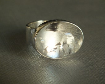 Exceptional Quartz in Quartz Sterling Silver Handmade Ring Metalsmith James Blanchard Size 9 1/4 Free Sizing