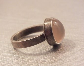 Pink Chalcedony Sterling Silver Ring Size 6 1/2 Handmade Metalsmith James Blanchard FREE SIZING