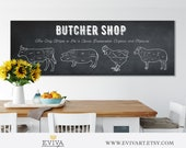 Butcher Shop Butcher cuts Meat Cuts Large Kitchen Print Butcher Sign Horizontal Panoramic Poster Pig Beef Sheep Chicken Animals Cuts Of Meat