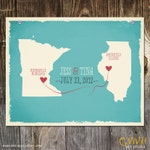 Custom Wedding Print Destination Wedding Gift  Memento Marriage Couple print alternative Signature Guest Books USA States Map Wedding Map