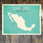 Mexico Custom Wedding Print Destination Wedding Gift  Memento Couple print Signature Guest Books Mexican Map Wedding Signature Map