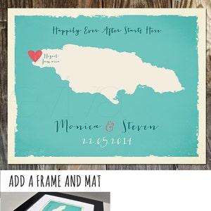 Puerto Rico Custom Wedding Print Destination Wedding Gift  Memento Couple print alternative Signature Guest Books USA State Vieques Map
