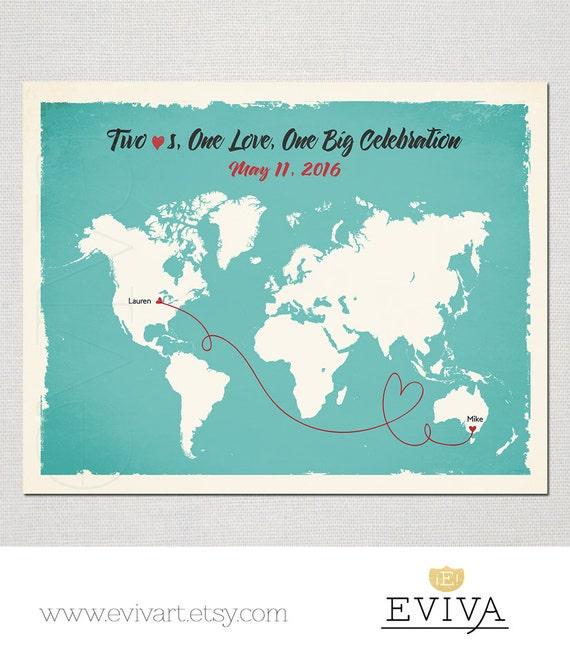 World Map Custom Wedding Print Destination Wedding Gift Etsy
