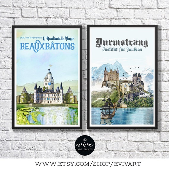 Harry Potter Inspired Travel Poster Duo Durmstrang Etsy Rowling herself, the most most secretive of all schools. harry potter inspired travel poster duo durmstrang beauxbatons schools vintage retro watercolor wall art movie children room geekery
