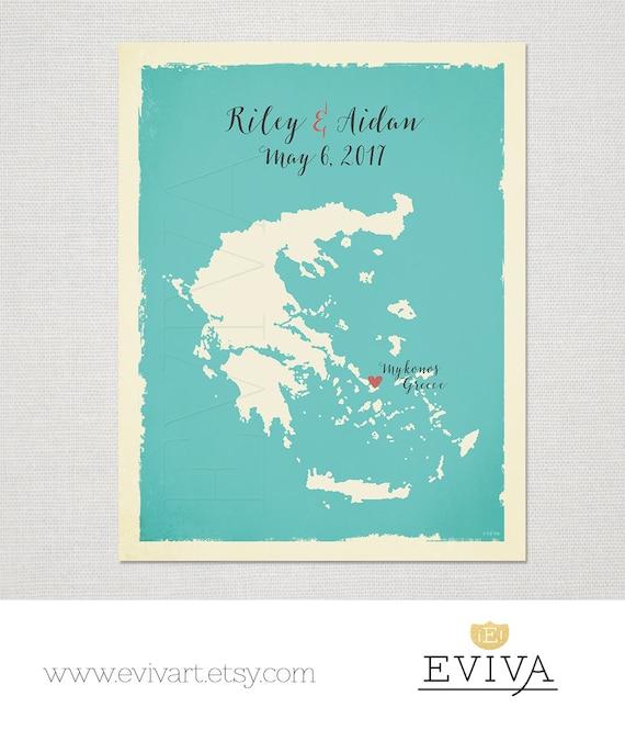 Greece Custom Wedding Print Destination Greek Wedding Gift Etsy